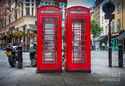 Two Phone Booths In London Print by Inge Johnsson