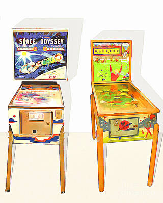 Two Pinball Machines 20160226 Print by Wingsdomain Art and Photography
