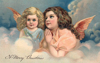 Two Praying Christmas Angels Print by American School