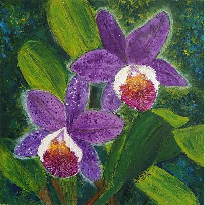 Two Purple Cattleyas Orchids Print by Jean L Fassina
