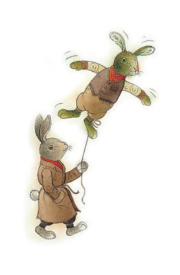 Two Rabbits 02 Print by Kestutis Kasparavicius