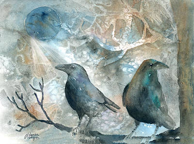 Blackbird Painting - Two Ravens by Arline Wagner