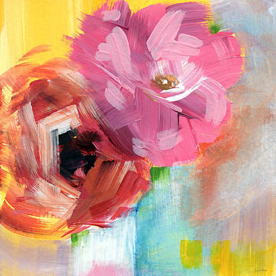 Expressionist Painting - Two Roses- Art By Linda Woods by Linda Woods