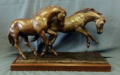 Bronze Horse Sculpture - Two Running Horses - Frolick by Kim Corpany