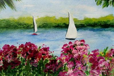 Frier Painting - Two Sailboats by Jamie Frier