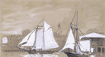 Two Schooners Print by Winslow Homer
