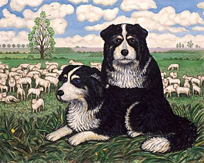 Puppies Painting - Two Sheep Dogs by Linda Mears