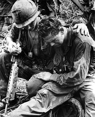Crucifix Photograph - Two Soldiers Comfort Each Other by Everett
