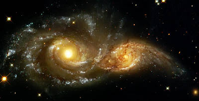 Space Photograph - Two Spiral Galaxies by The  Vault - Jennifer Rondinelli Reilly