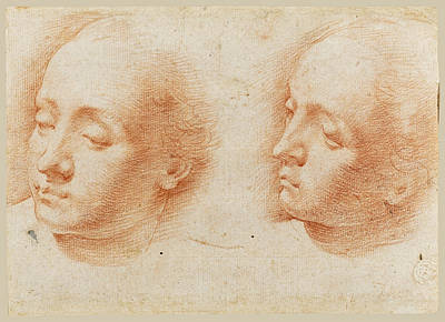 Drawing - Two Studies Of A Woman's Head by Alessandro Casolani