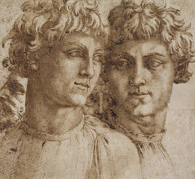 2 Faces Drawing - Two Studies Of The Head Of A Youth by Baccio Bandinelli