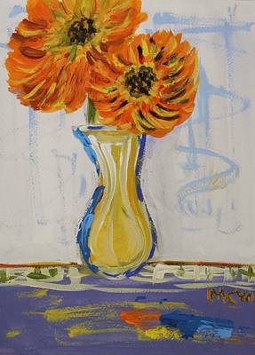 Primitive Drawing - Two Sunshine Flowers by Mary Carol Williams