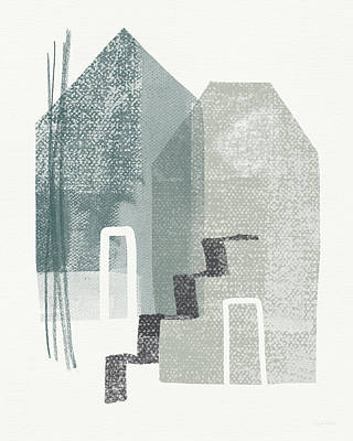 Two Tall Houses- Art By Linda Woods Print by Linda Woods