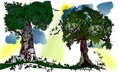 Two Trees Print by Gary Kennedy