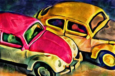 Multi-color Digital Art - Two Volkswagens by Jeff  Gettis