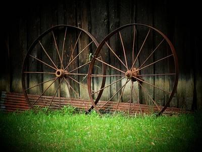 Two Wagon Wheels Print by Michael L Kimble