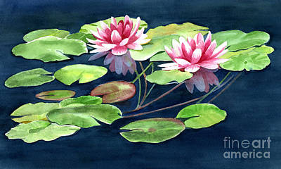 Two Water Lilies With Pads Original by Sharon Freeman