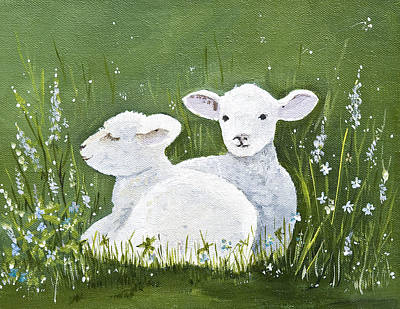 Fiber Art Painting - Two Wee Sheep by Virginia McLaren