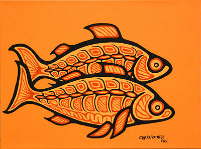 Lake Superior Art Gallery Painting - Two White Fish by Christpher Fox