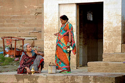 Cremation Ghat Photograph - Two Women Varanasi by John And Laurel Rodgers