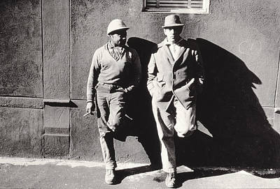 Two Workmen Against A Building Print by Nat Herz