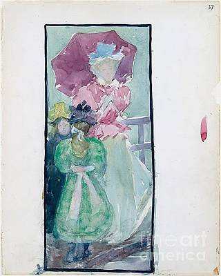 Poster Painting - Two Young Girls And A Woman by MotionAge Designs