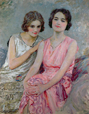 Haircut Painting - Two Young Women Seated by William Henry Margetson