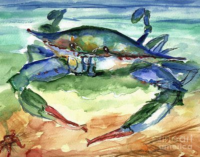 Watercolor Painting - Tybee Blue Crab by Doris Blessington