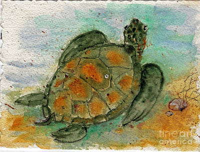 Sea Turtles Painting - Tybee Sea Turtle by Doris Blessington