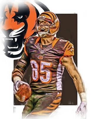 Super Bowl Mixed Media - Tyler Eifert Cincinnati Bengals Oil Art by Joe Hamilton