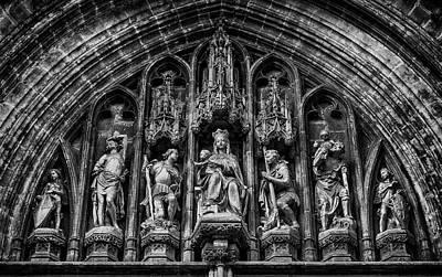 Tympanum From Notre Dame Du Sablon Print by Pablo Lopez