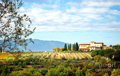 Italy Farmhouse Painting - Typical Tuscan Hill by Antonio Gravante