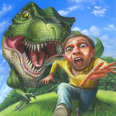Fantasy Painting - Tyrannosaurus Rex Jurassic Park Dinosaur - T Rex - T Rex - Extinct Predator - Square Format by Walt Curlee