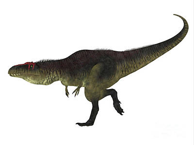 Tyrannotitan Dinosaur Side View Print by Corey Ford