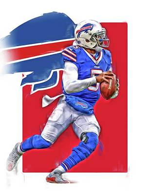 Buffalo Mixed Media - Tyrod Taylor Buffalo Bills Oil Art by Joe Hamilton