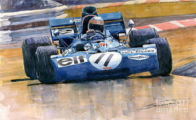 1971 Painting - Tyrrell Ford 003 Jackie Stewart 1971 French Gp by Yuriy  Shevchuk