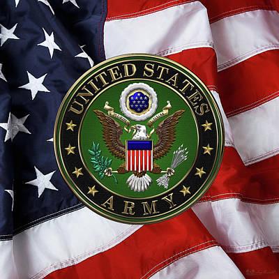 U. S. Army Emblem Over American Flag. Print by Serge Averbukh
