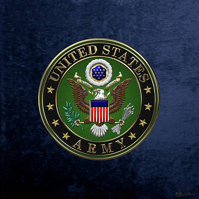 U. S.  Army Emblem Over Blue Velvet Print by Serge Averbukh