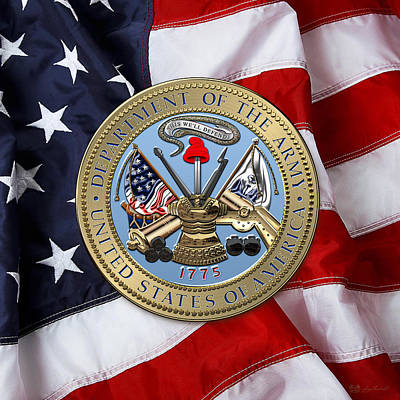 U. S. Army Seal Over American Flag. Print by Serge Averbukh