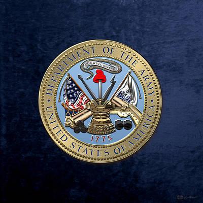 U. S. Army Seal Over Blue Velvet Print by Serge Averbukh