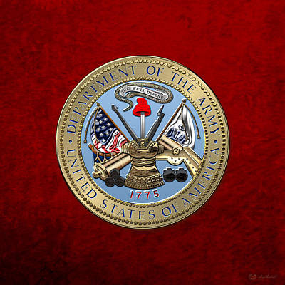 U. S. Army Seal Over Red Velvet Print by Serge Averbukh