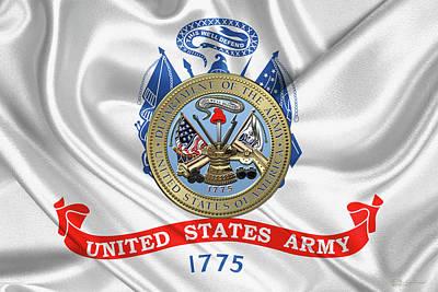 U. S.  Army Seal Over United States Army Flag Print by Serge Averbukh