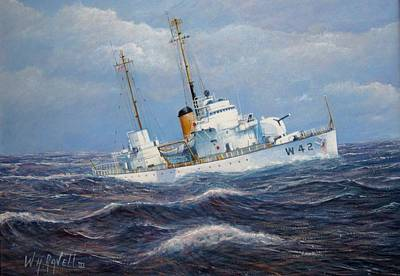 Enforcement Painting - U. S. Coast Guard Cutter Sebago Takes A Roll by William H RaVell III