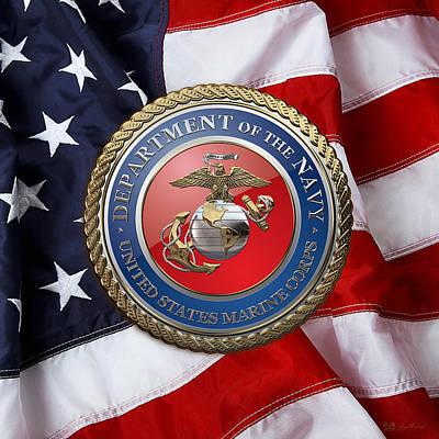 U. S. Marine Corps - U S M C Seal Over American Flag. Print by Serge Averbukh