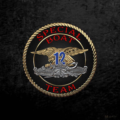 U. S. Navy S W C C - Special Boat Team 12   -  S B T 12  Patch Over Black Velvet Print by Serge Averbukh