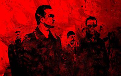 Irish Rock Band Painting - U2 Rock On by Brian Reaves