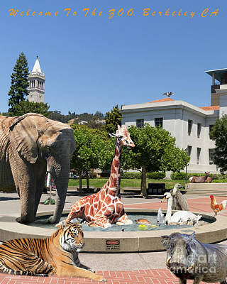 Uc Berkeley Welcomes You To The Zoo Please Do Not Feed The Animals Dsc4086 Vertical With Text Print by Wingsdomain Art and Photography