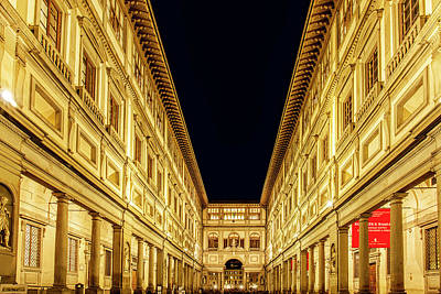 Vibrant Photograph - Uffizi At Twilight by Andrew Soundarajan