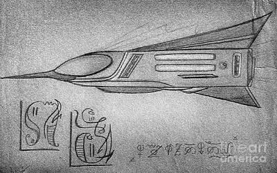 Ufo Alien Space Shuttle Print by Sofia Metal Queen