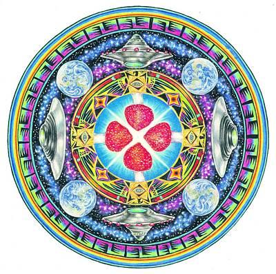 Hopi Drawing - Ufo Spirit Journey by Tim McCarthy